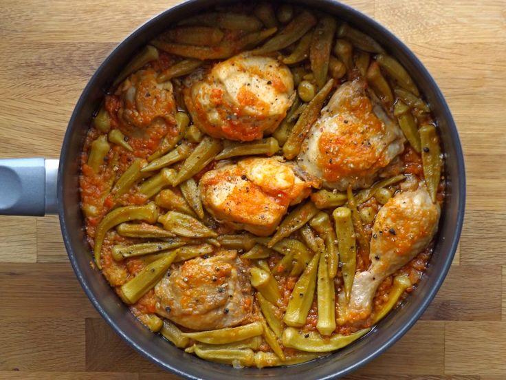 Κοτόπουλο με μπάμιες και φρέσκια ντομάτα στην κατσαρόλα