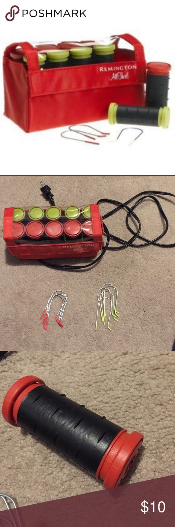 Remington All That hot curler/rollers Electric Remington electric hair rollers with pins to hold roller in hair. Used. Works great Remington Other