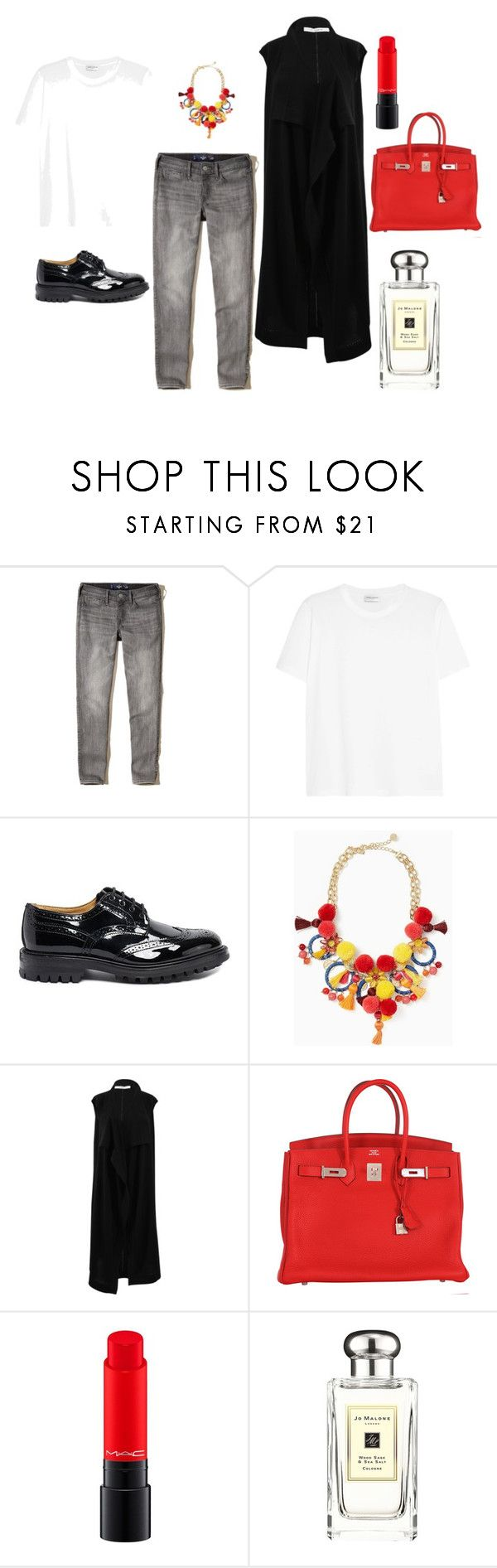 """Untitled #29"" by janka-dzurillova on Polyvore featuring Hollister Co., Yves Saint Laurent, Kate Spade, Givenchy, Hermès, MAC Cosmetics and Jo Malone"