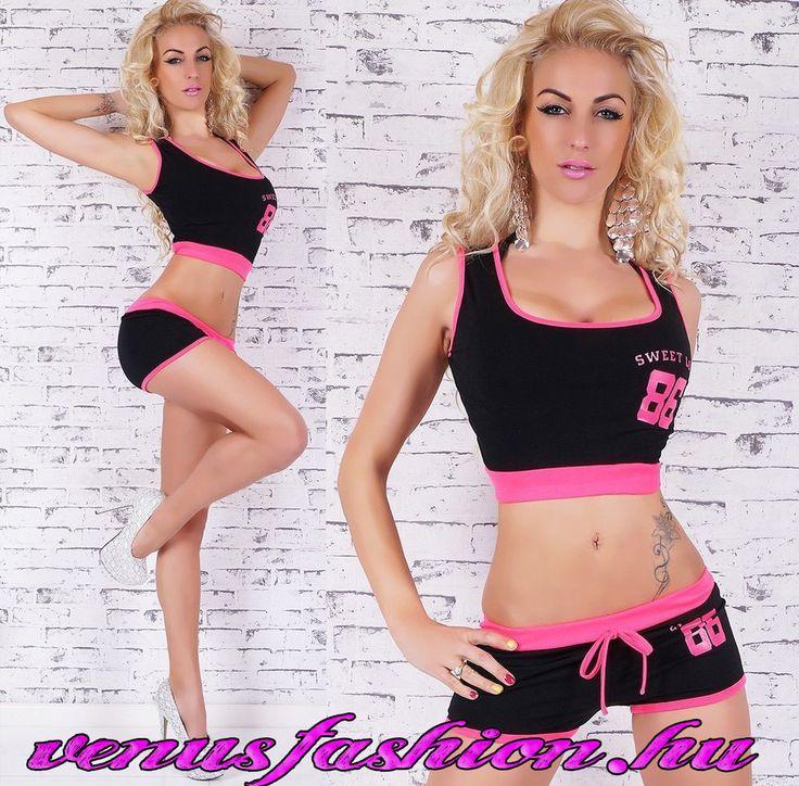 2 részes pink fekete sportos top + rövidnadrág - Venus fashion női ruha webáruház