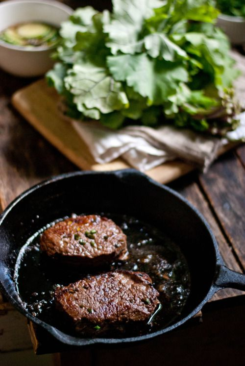 Ingredients;Elk & Marinade:2 boneless elk round steaks1/4 cup espresso (room temperature)1/4 cup dark soy sauce2 tbsp olive oil1 clove garlic, smashed3 tbsp vegetable oil1 tbsp butter