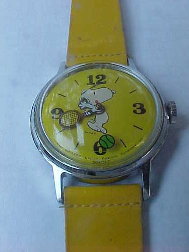 I have this from one of my birthdays as a child:   1958 Vintage Collectible Timex Snoopy Wind Up Watch w/ Moving Tennis Ball