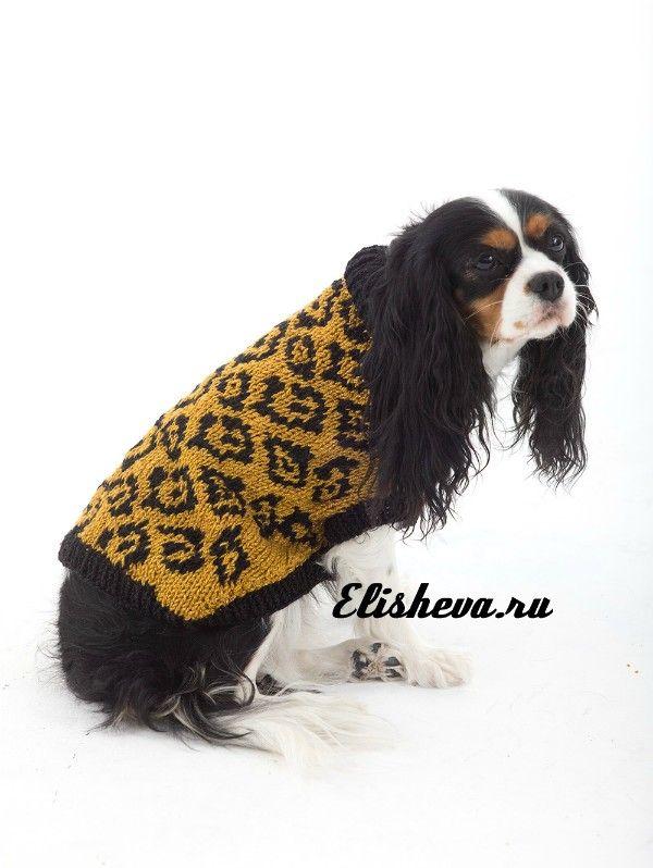 Свитер для собаки с леопардовым узором, вязаный спицами
