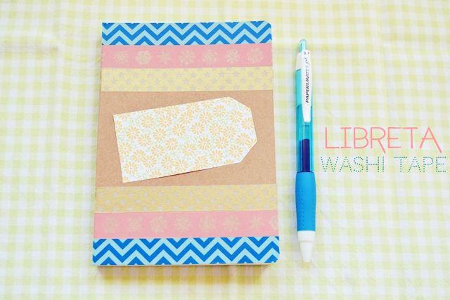 libreta decorada con washi tape