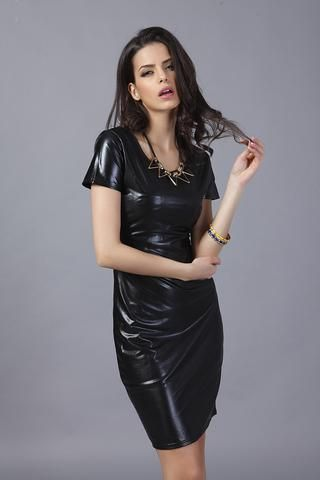 Black Patent Dress! Cool Eye-Catching Tight Faux Patent-Leather Dress 39a07a99a205