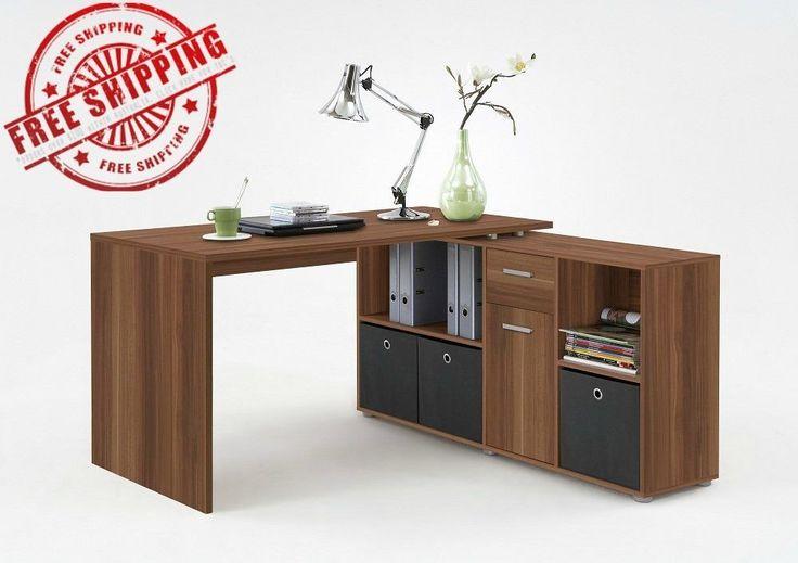 Corner Study Desk L-Shaped Storage Shelf 2 Drawers PC Workstation Table Walnut