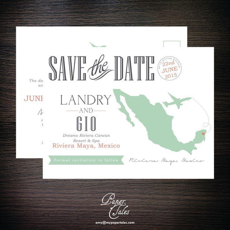 Riviera Maya, Mexico Destination Postcard Save the Dates - DIGITAL by PaperTalesCustom on Etsy https://www.etsy.com/listing/203198290/riviera-maya-mexico-destination-postcard