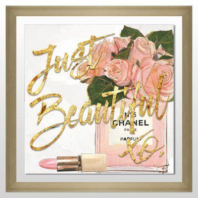 "PicturePerfectInternational 'Just Beautiful Chanel' Graphic Art Print Size: 33.5"" H x 33.5"" W x 0.75"" D, Format: Gold Plexiglass Framed"