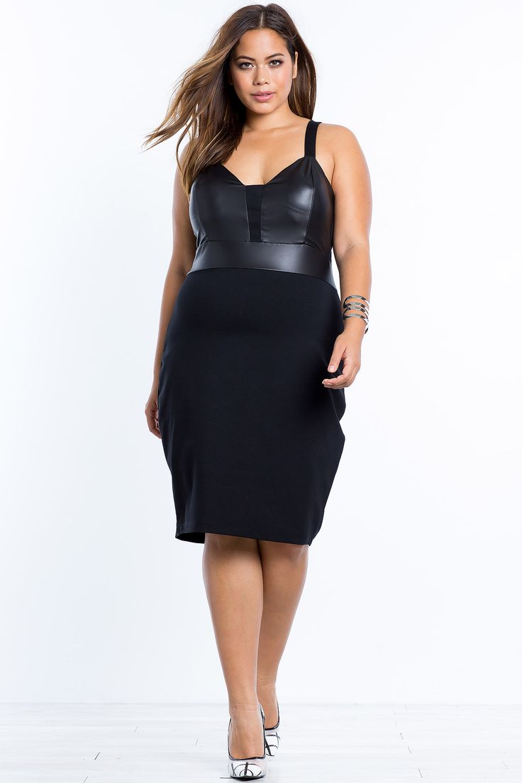 Women's Plus Size Bodycon Dresses | Riley Leatherette Accent Bodycon Dress | A'GACI