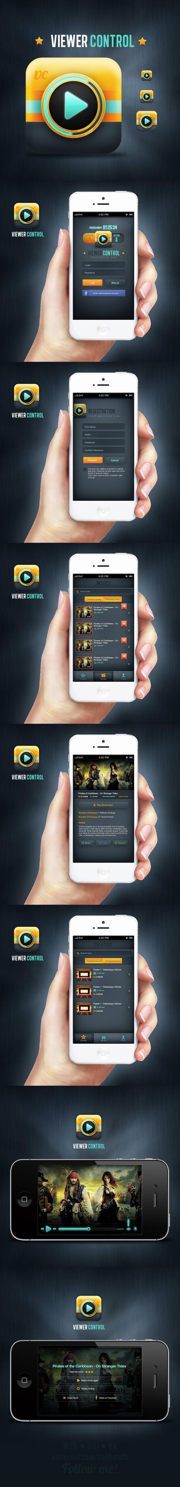 Viewer Control - Mobile app concept by Leonardo Zem, via Behance