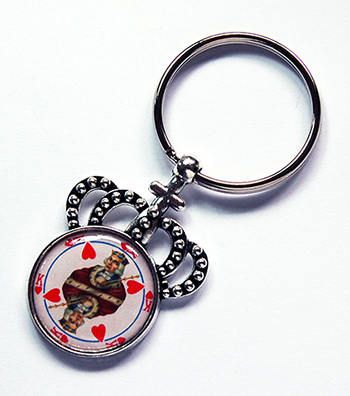 King of Hearts keychain Crown Keyring stocking stuffer