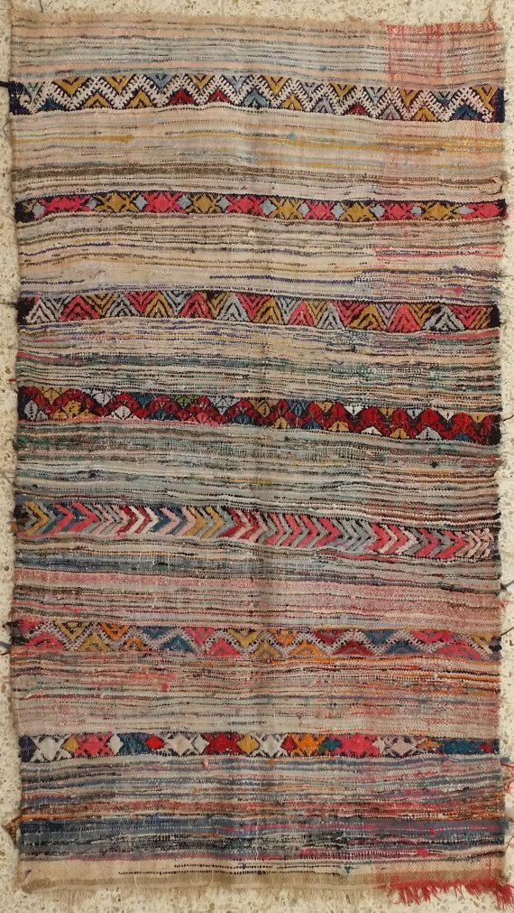 72X41 Vintage Moroccan rug woven by hand from by MoroccanTribal