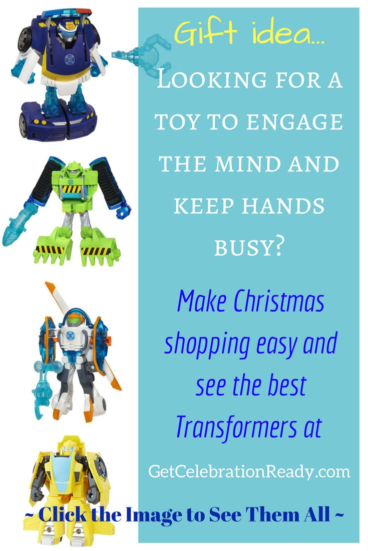 Transformers action figures make great Christmas presents for boys. A great toy to take with you on-the-go.