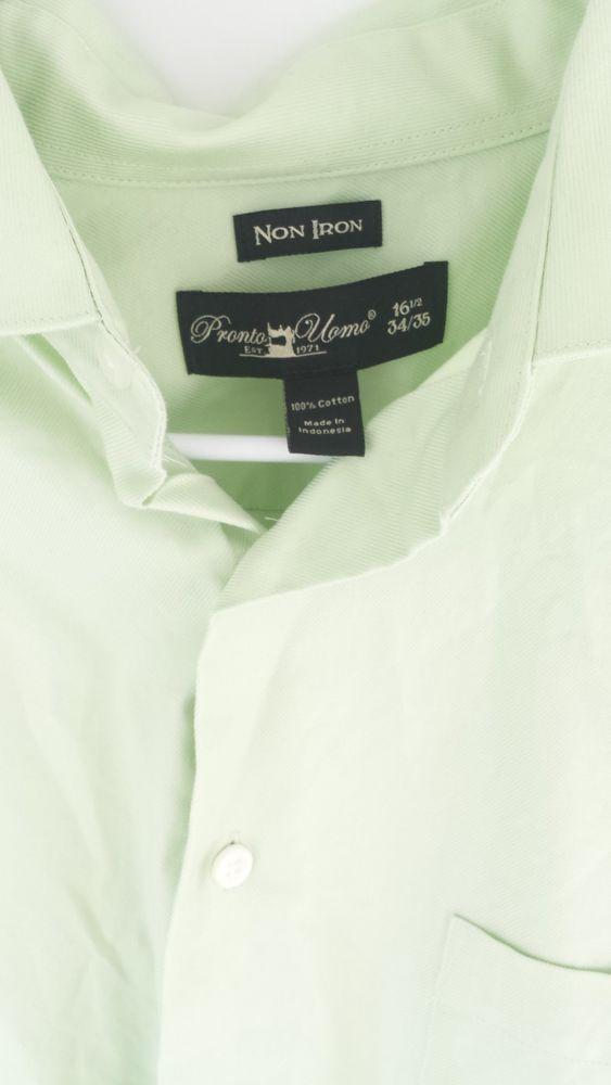 Pronto Uomo Mint Green Non Iron Dress Shirt Sz 16-1/2 34/35 Pastel Cotton  #ProntoUomo