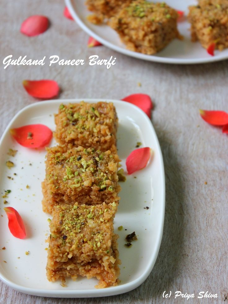 Gulkand Paneer Burfi - a delicious #sweet made with cottage cheese and flavors from gulkand (sweet rose petal preserve)