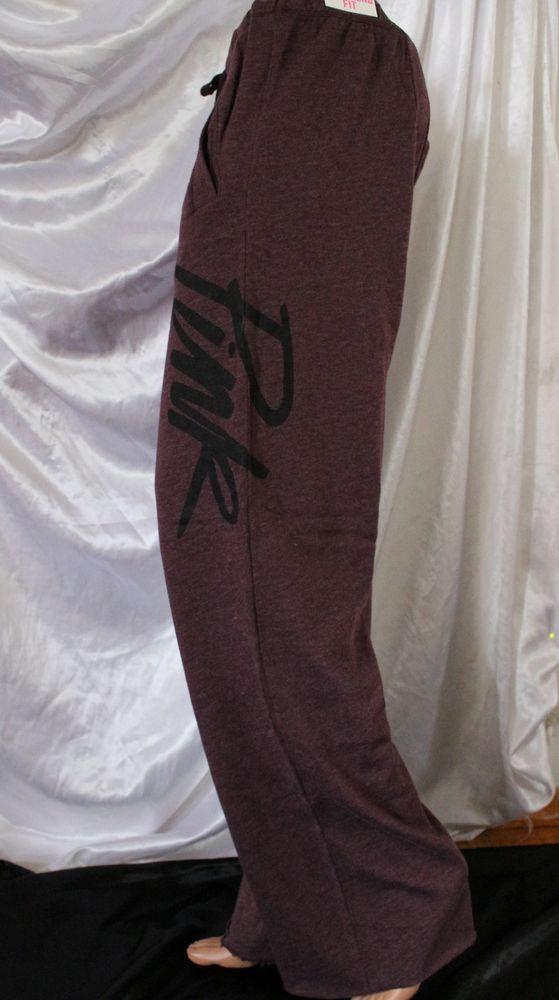 Victoria Secret PINK Sweatpants Large L Burgundy Red Baggy Boyfriend Fit Script #VictoriasSecret #TrackSweatPants