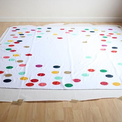 Confetti Tablecloth DIY {Tablecloths}    Black Tablecloth With Colorful Or  White Polka Dots