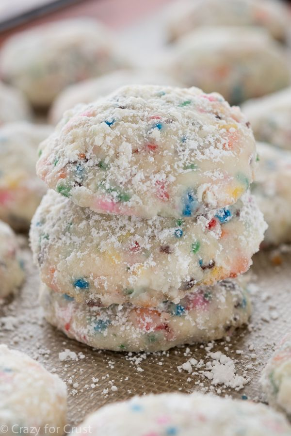 Funfetti Cake Batter Wedding Cookies - my Mom's Snowball recipe filled with cake batter flavor and sprinkles!