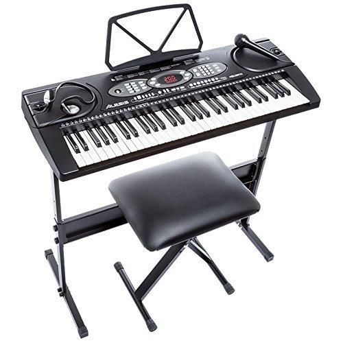 Alesis Melody 61 Beginner Bundle | 61-Key Portable Keyboard with Stand Bench Headphones and Microphone