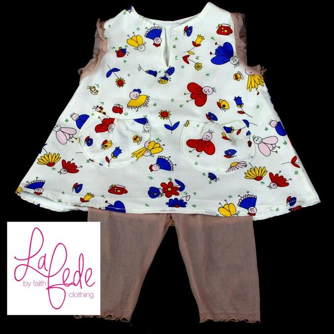 Bugsy bee and me... Exclus8ve one of a kind dress with leggings and bollero (pink or navy blue option) made by La Fede. www.lafede.co.za or https://m.facebook.com/lafedeclothing  Handmade in South Africa. Ships all over the world
