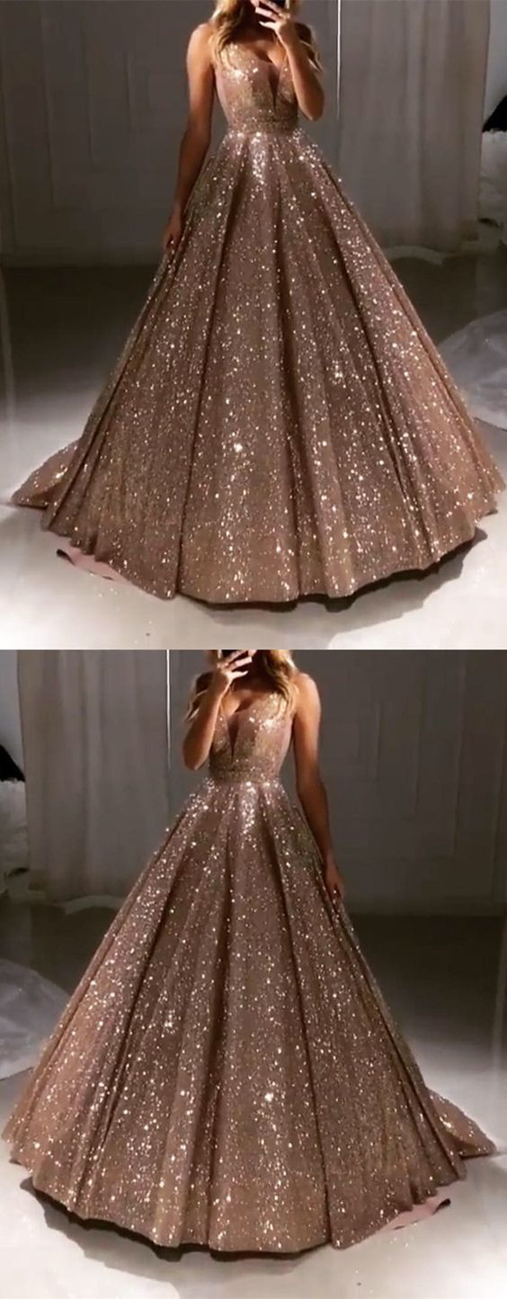 Great Luxurious Sequin V-neck Ball Gowns Prom Dresses 2019