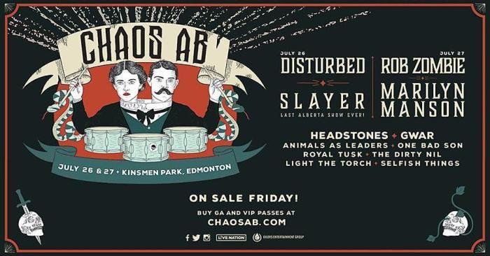 Slayer Rob Zombie Marilyn Manson Disturbed To Headline New Canadian Festival