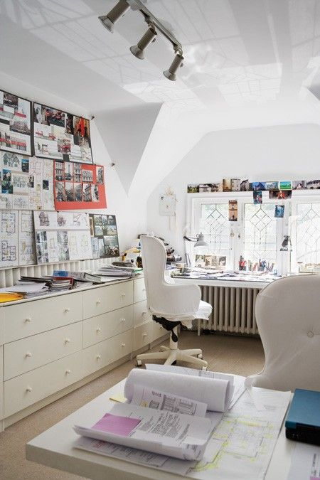 great white workspace with a desk on top of an old radiatorOffice Ideas, Office Spaces, Offices Spaces, Crafts Room, Work Spaces, Workspaces, Attic Offices, Home Offices Design, Organic Offices