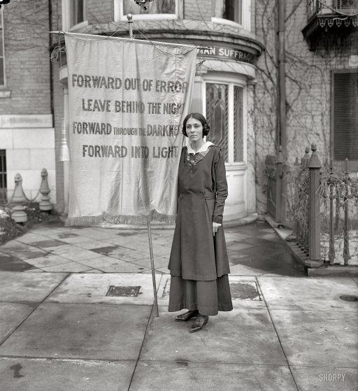 """""""Congressional Union for Woman Suffrage, 1916."""" One of the banners used in a memorial service for Inez Milholland, the lawyer who became a martyr to the suffrage movement following her death from anemia while campaigning for the 19th Amendment. Harris & Ewing Collection glass negative."""