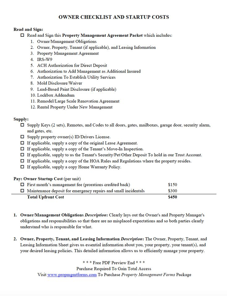 OWNER CHECKLIST AND STARTUP COSTS PDF