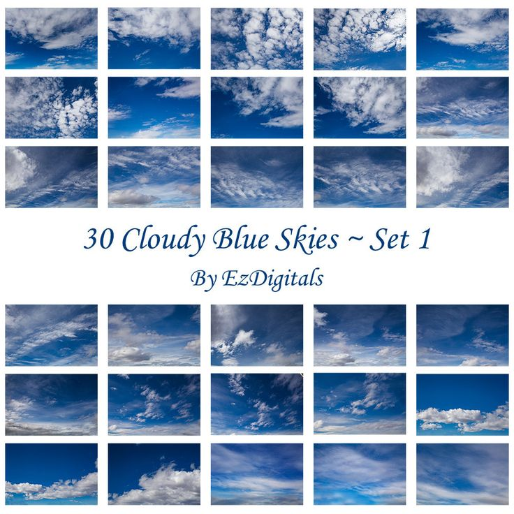 30 cloudy blue sky overlay photo replacements digital skies Set 1 by EzDigitals on Etsy