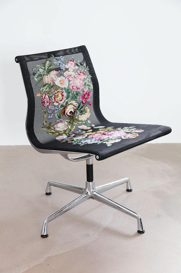 "Calling it ""a local tattoo applied onto a universal design,"" Spanish designer Alvaro Catalán de Ocón has conceived of a novel way to reinterpret a Mid-Century classic: via the Victorian art of needlepoint.  The designer sought a way to transform a globally recognized object into a local, hand-crafted item, and settled upon the Eames Aluminum Chair, manufactured by Vitra, as his object of reinterpretation."
