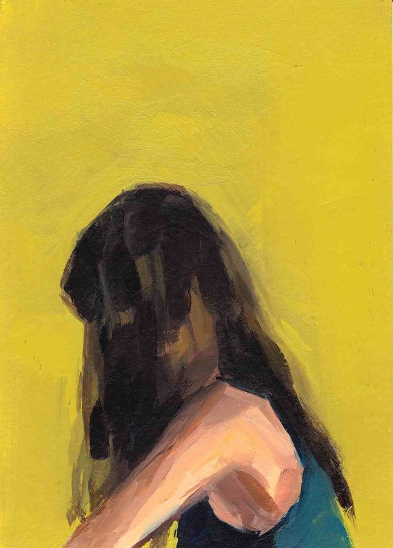 Portrait in Yellow . giclee digital art print poster of painting . 16 x 20 inches on 17 x 22 inch paper