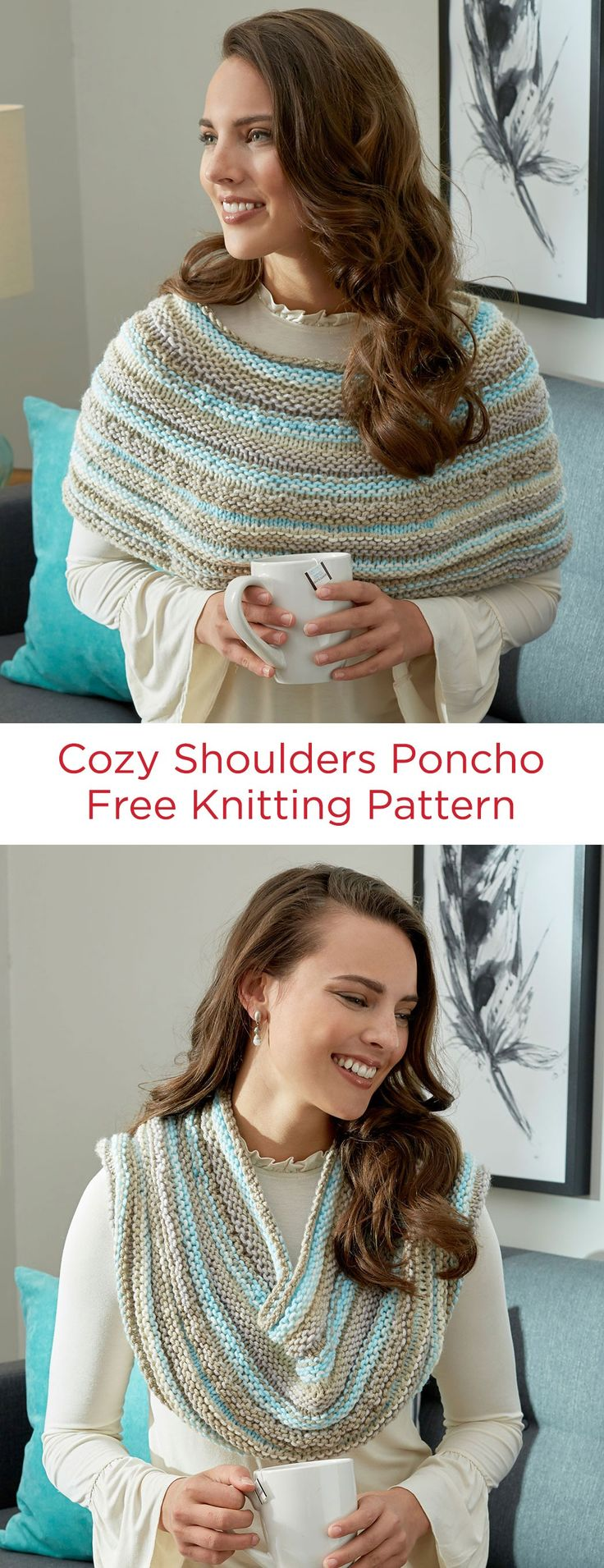 Cozy Shoulders Poncho Free Knitting Pattern in Red Heart With Love Stripes yarn -- Wear this poncho around your shoulders, or up around your neck like a cowl. Whichever way you wear it, you'll look great!