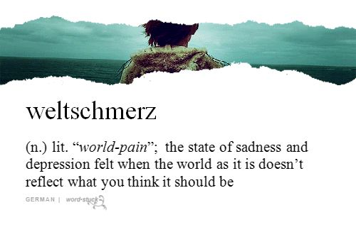 "weltschmerz | (n.) | lit. ""world-pain""; the state of sadness and depression felt when the world as it is doesn't reflect what you think it should be 