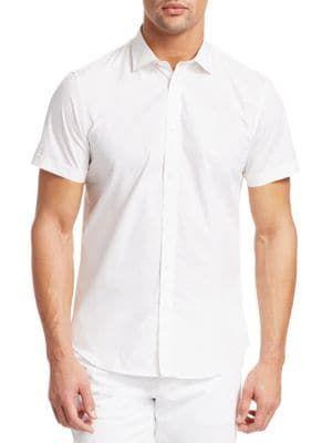 c09420f0c46d SAKS FIFTH AVENUE MODERN Short Sleeve Diamond Print Cotton Shirt.  #saksfifthavenue #cloth