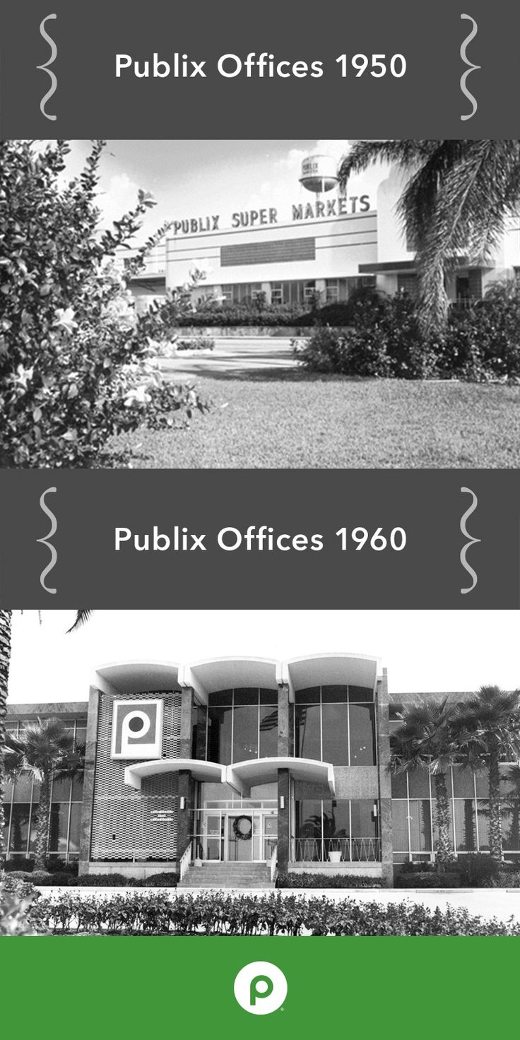 Pictured is the original Lakeland, Florida Publix Corporate Office before and after its remodel and expansion in 1960. Today, some of our departments still operate out of this historic building.