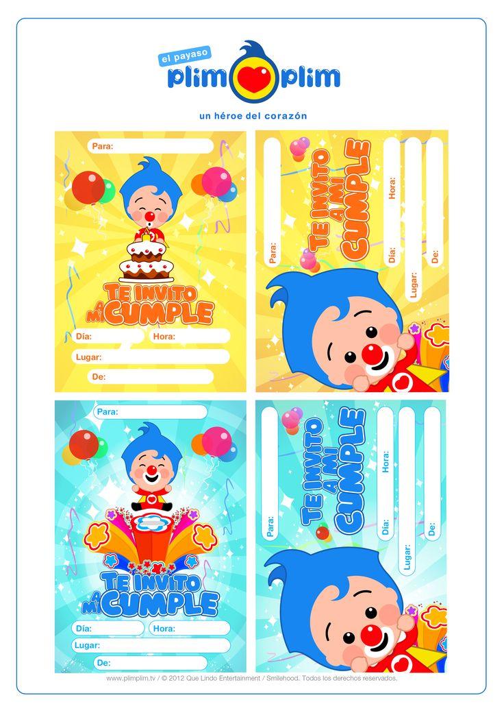 ¡Festeja junto a Plim Plim tu cumpleaños!  ¡Imprime las tarjetas para invitar a todos tus amigos!  ¡CLARO QUE SI!