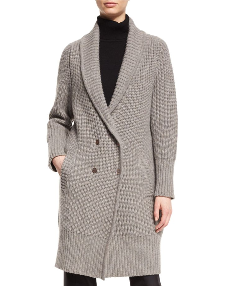 "Co ribbed knit cardigan. Approx. 37""L down center back. Shawl collar; double-breasted button front. Long sleeves. Side slip pockets. Relaxed silhouette. Straight hem hits knee. Wool/cashmere; dry clea"