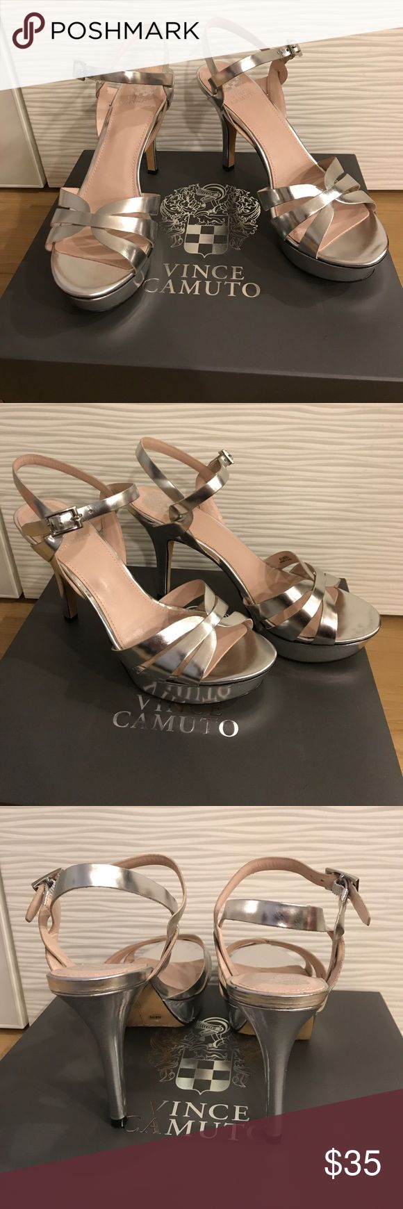 Vince Camuto Silver Strappy High Heel Brand new never worn Vince Camuto silver strappy high heels in size 9 ½. Every fashionista has to have a pair of silver heels it's a wardrobe staple. Vince Camuto Shoes Heels