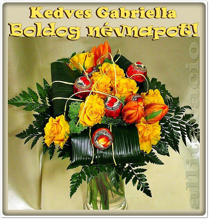 névnap, Gabriella, képek, képeslap, virágok, köszöntő,