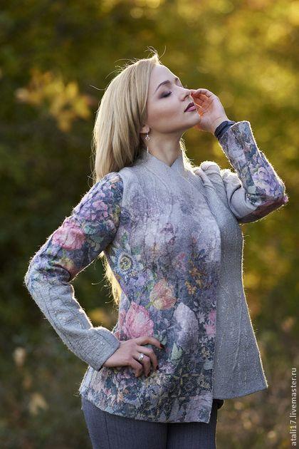 Жакет Незнакомка -войлок - цветочный,жакет из войлока,жакет валяный,валяная одежда