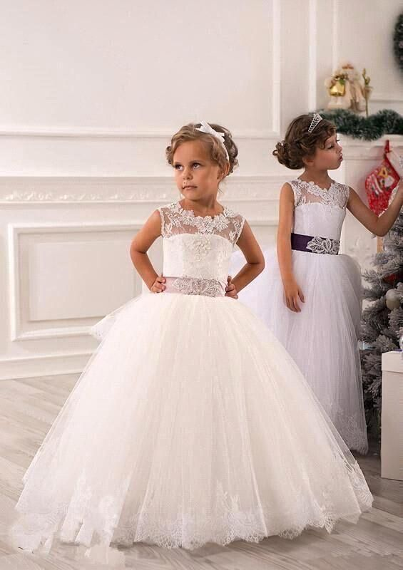 Great Under Fall Vestidos Comunion Ninas Cheap Lace Flower Girl Dresses For Wedding White