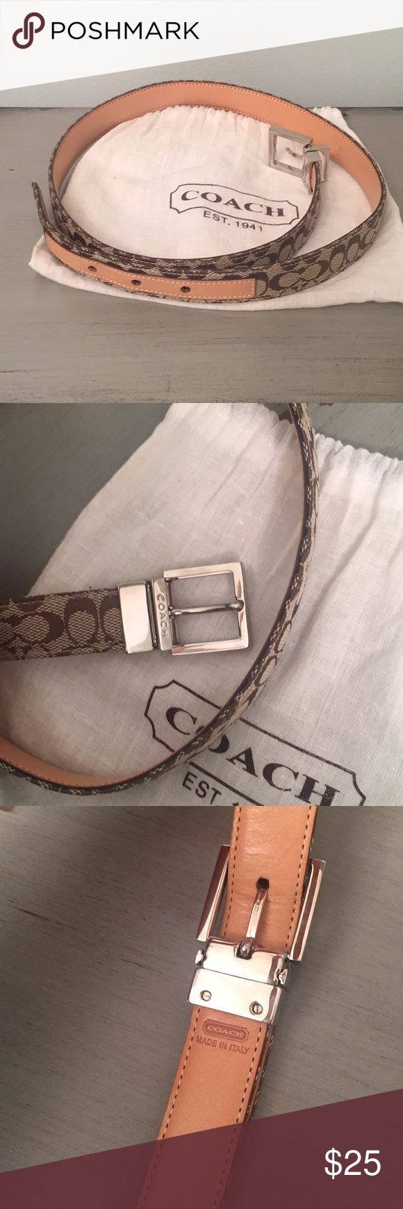 Coach belt ~made in Italy~ NEVER worn, like new. Received as a gift but too small for me.  Three holes option for sizing. Dust bag included. Beautiful hardware and print. Refer to photos.  36 inches long from end to end laid flat. 31 inches to smallest fit, 32 inches middle hole, 33 inches to most loose fit. 35 inches long not including buckle hardware. 1 inch width.   Please feel free to make a reasonable offer 😊 Coach Accessories Belts