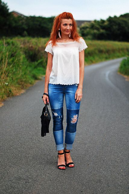 White summer top and distressed patchwork jeans by Not Dressed As Lamb