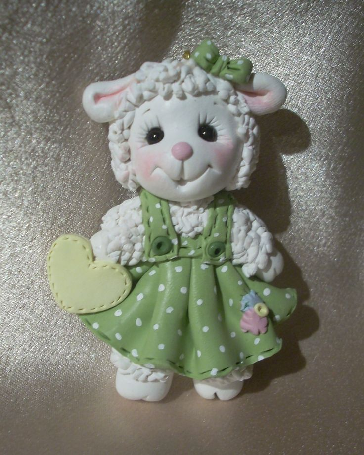 *POLYMER CLAY ~ sheep lamb refrigerator magnet gift polymer clay
