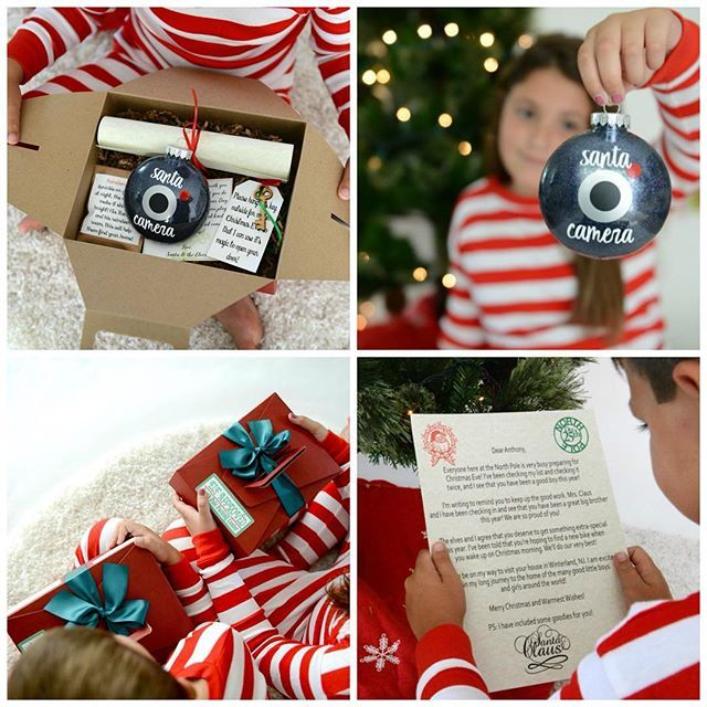 """These Santa Boxes from @weloveaparty are the perfect """"before"""" holiday gift for your kiddos! Each box contains a personalized letter from Santa, a Santa Cam Ornament, and Magic Reindeer Food. Additional packages available include Santa's Magic Key and personalized letters. The inner kid in us LOVES this idea! Use code JUSTBECAUSE10to save 10% on your order! #SmallBusinessLove"""