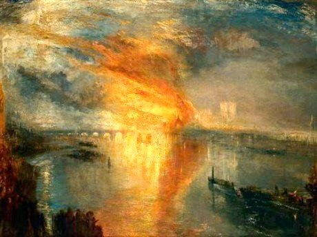 J.M.W Turner - The Burning of the Houses of Parliament.