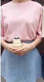 2017 Summer Kawaii T shirts Banana Milk Letters Printed Women Shirts Short Sleeve Casual Tees Pink /beige poleras de mujer