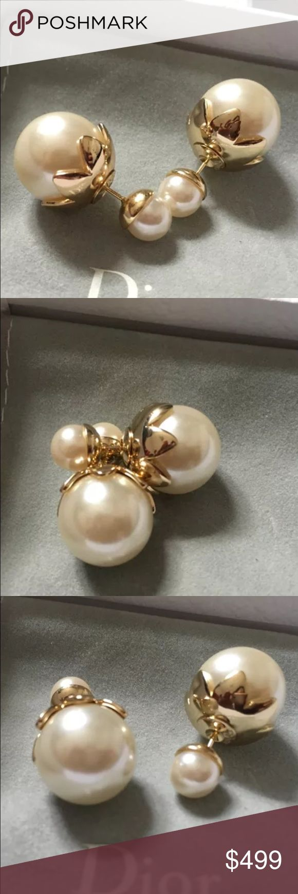 Auth Christian Dior Tulip Tribal Pearl Earrings Pristine Like NEW! Comes with box only. GUARANTEED 100% AUTHENTIC. PHOTOS ARE TAKEN OF THE EXACT SAME ITEM YOU WILL RECEIVE! WHAT YOU SEE IS WHAT YOU GET*** PLEASE VISIT OUR WEBSITE AT WWW.AUTHENTICLUXURIESTW.COM or email me at authenticluxuries11@gmail.com for more detailed photos =). Dior Jewelry Earrings