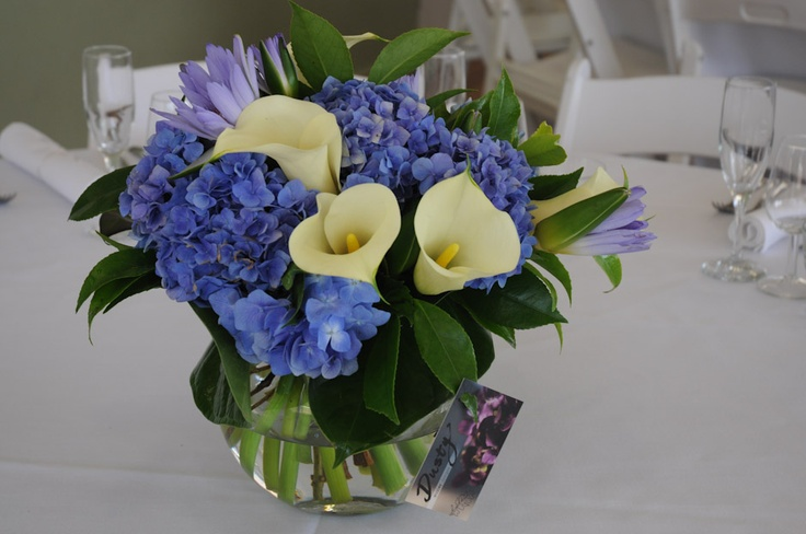 table centre's with blue hydrangea, water lilies and calla lilies- dusty miller designs
